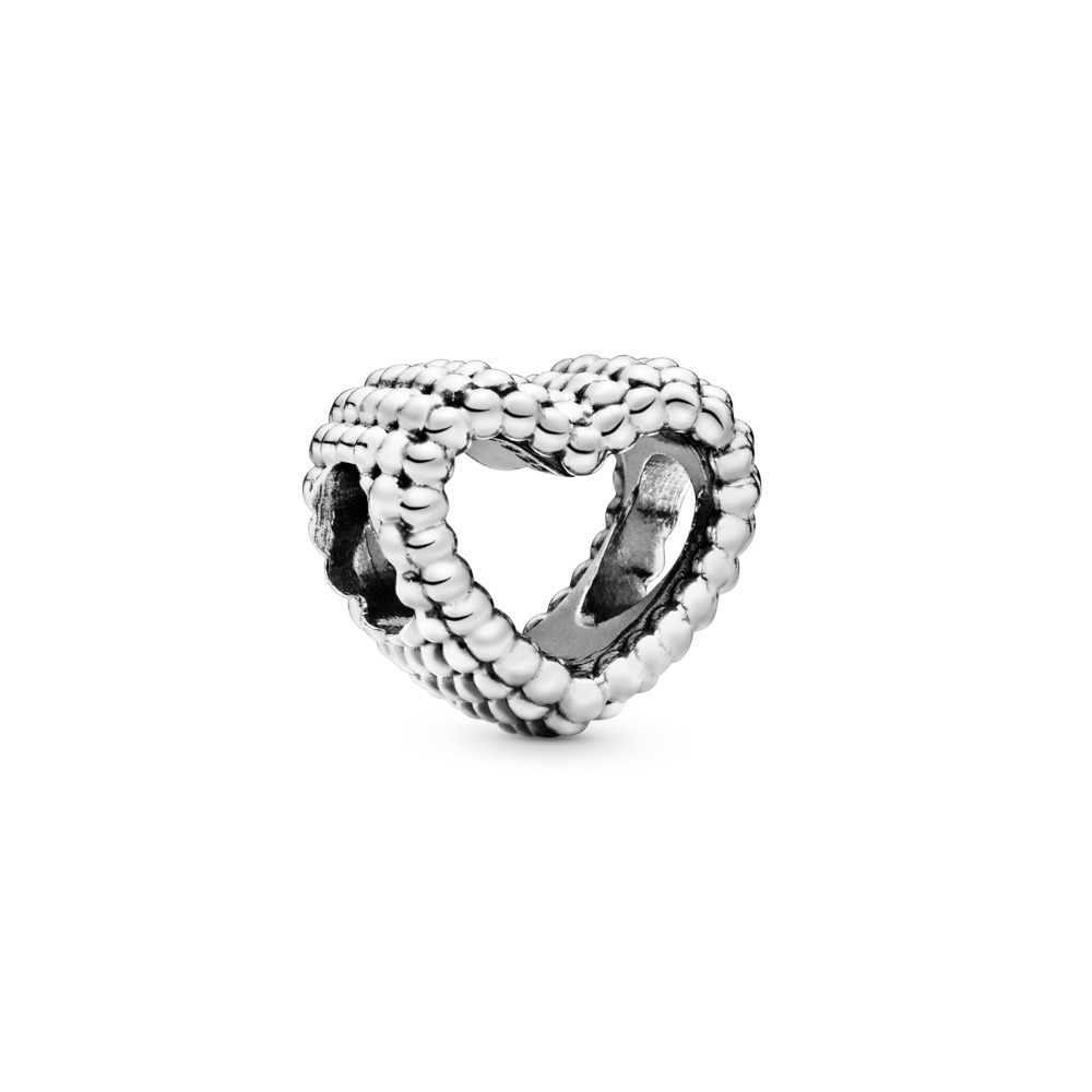 Beaded Heart Charm, Sterling silver - PANDORA - #797516