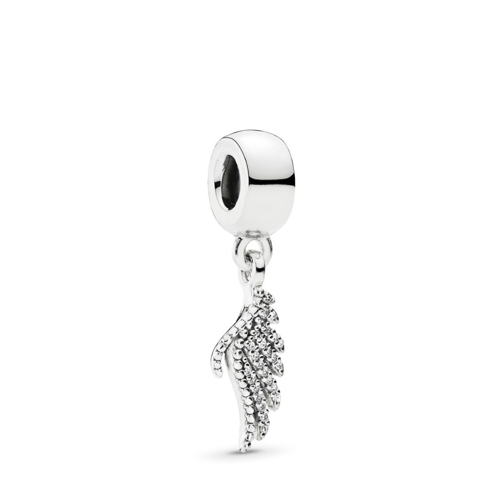 Majestic Feather Dangle Charm, Clear CZ, Sterling silver, Cubic Zirconia - PANDORA - #791750CZ