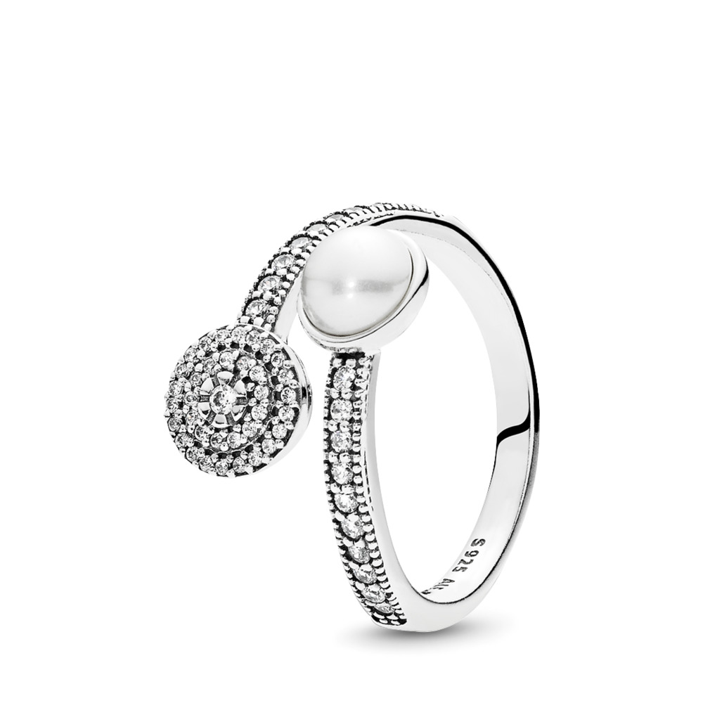 Luminous Glow Ring, White Crystal Pearl and Clear CZ, Sterling silver, White, Mixed stones - PANDORA - #191044CZ