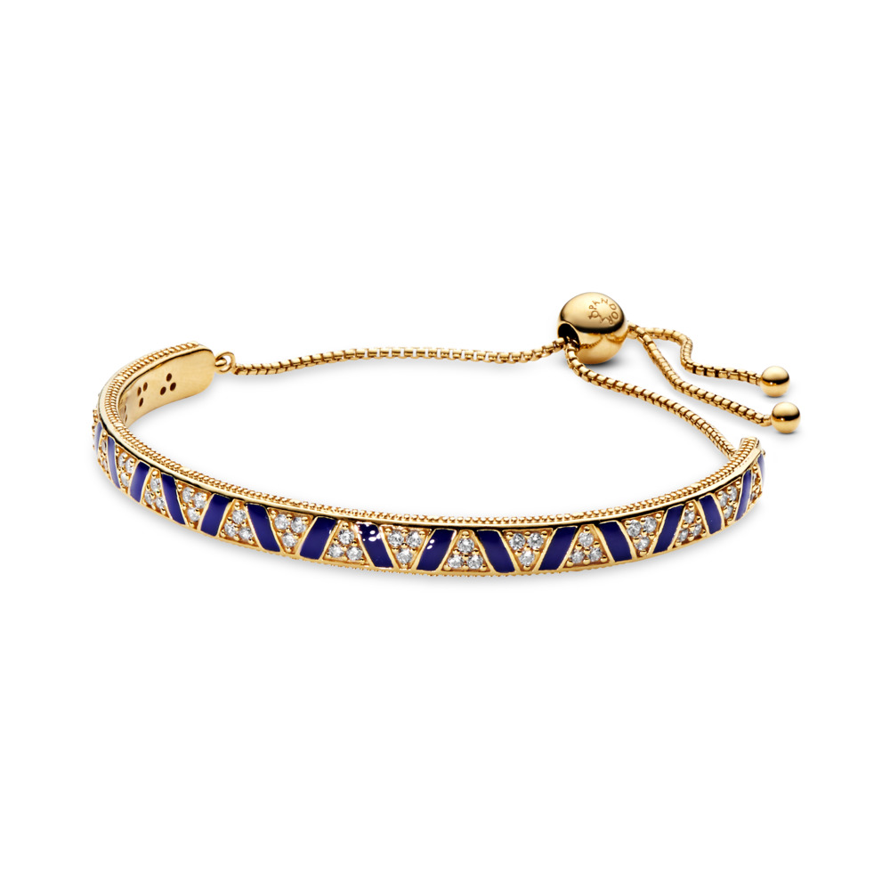 Exotic Stones & Stripes Bracelet, Pandora Shine™, 18ct Gold Plated, Enamel, Blue, Cubic Zirconia - PANDORA - #568051CZ