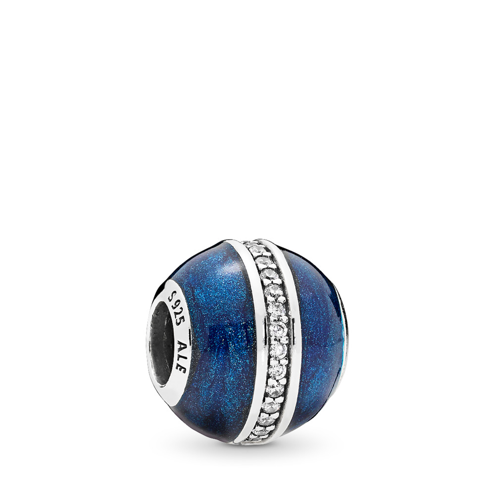 판도라 PANDORA Orbit Charm, Midnight Blue Enamel & Clear CZ Sterling silver, Enamel, Blue, Cubic Zirconia