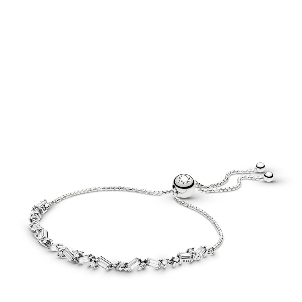 Glacial Beauty Sliding Bracelet, Clear CZ, Sterling silver, Silicone, Cubic Zirconia - PANDORA - #597558CZ