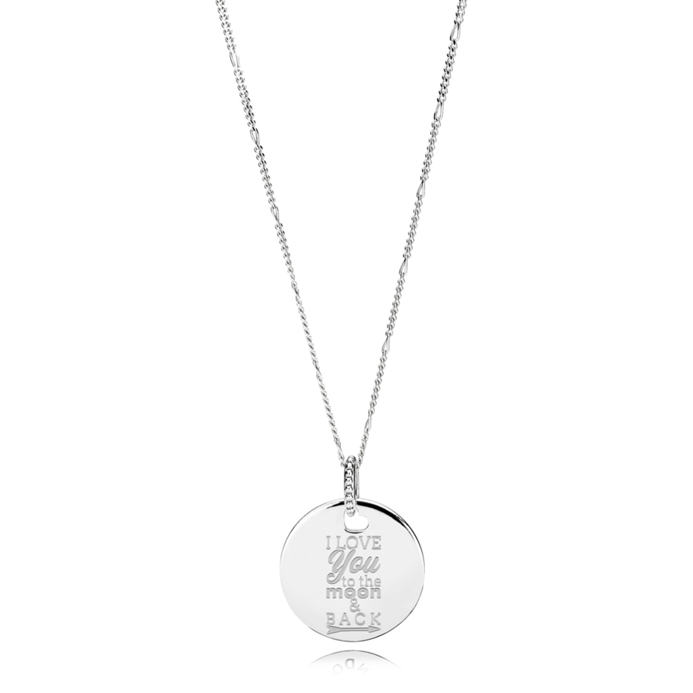 I Love You to the Moon & Back Necklace, Silver - PANDORA - #ENG397122_3-60