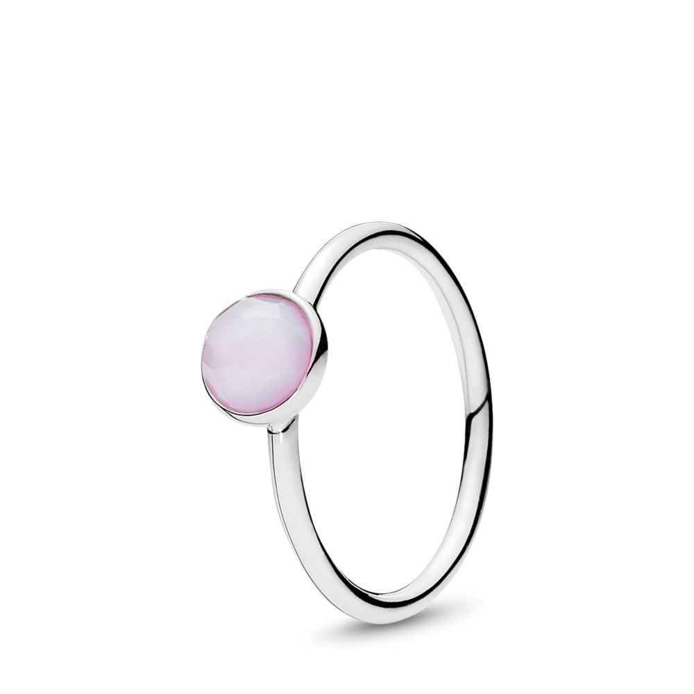 판도라 PANDORA October Droplet Ring, Opalescent Pink Crystal Sterling silver, Pink, Crystal