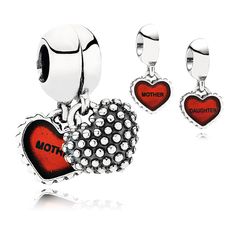 판도라 PANDORA Piece Of My Heart, Daughter, Two-Part Dangle Charm, Red Enamel Sterling silver, Enamel, Red