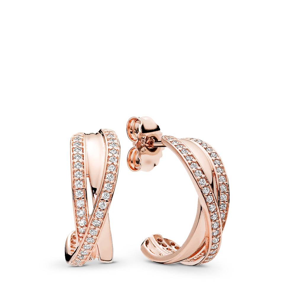 Entwined Hoop Earrings, PANDORA Rose™ & Clear CZ, PANDORA Rose, Cubic Zirconia - PANDORA - #280730CZ