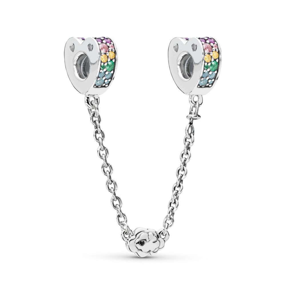 Multi-Colored Arcs of Love Safety Chain, Multi-Colored CZ & Crystals, Sterling silver, Blue, Mixed stones - PANDORA - #797021NRPMX