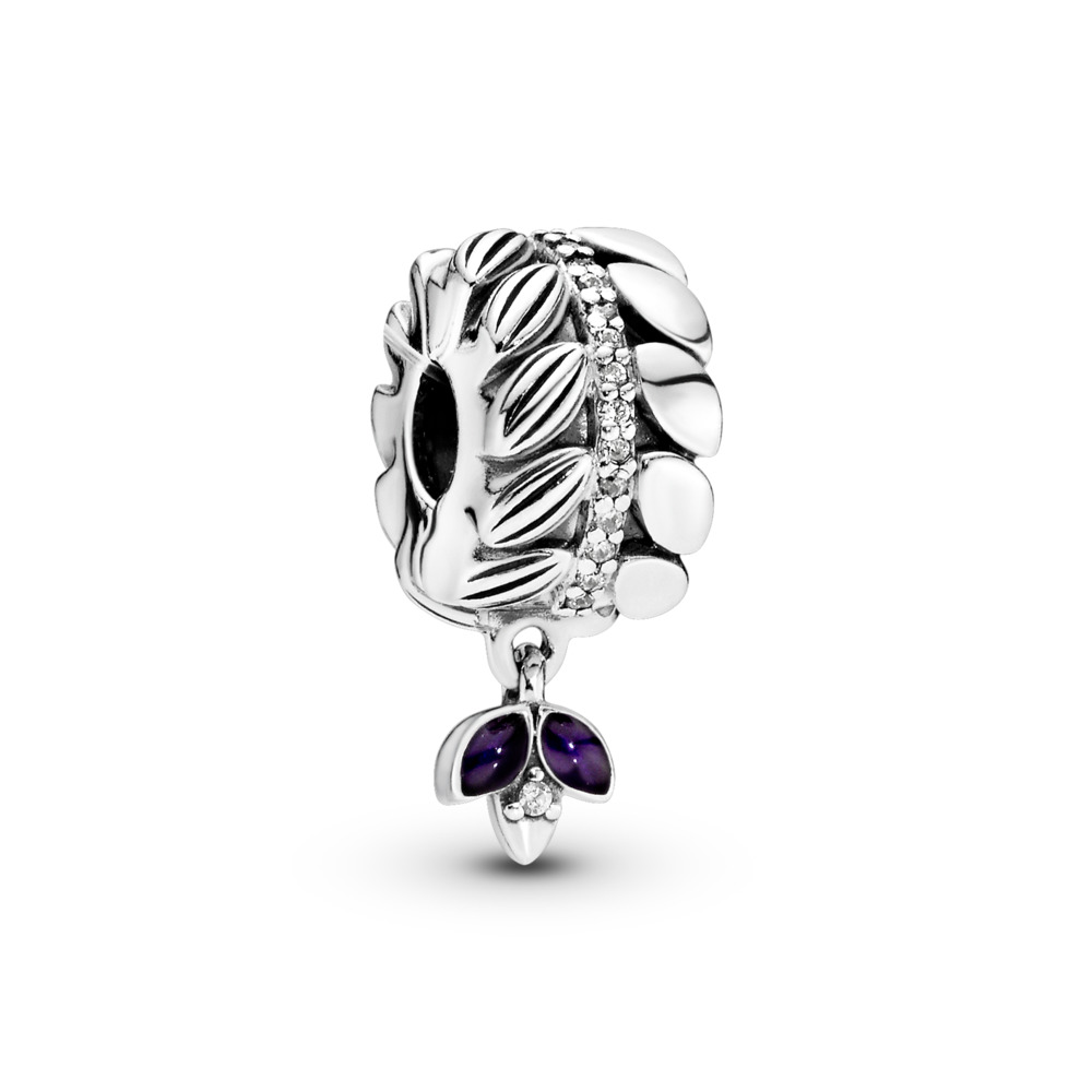 Grains of Energy Clip, Clear CZ & Purple Enamel, Sterling silver, Enamel, Purple, Cubic Zirconia - PANDORA - #797591CZ