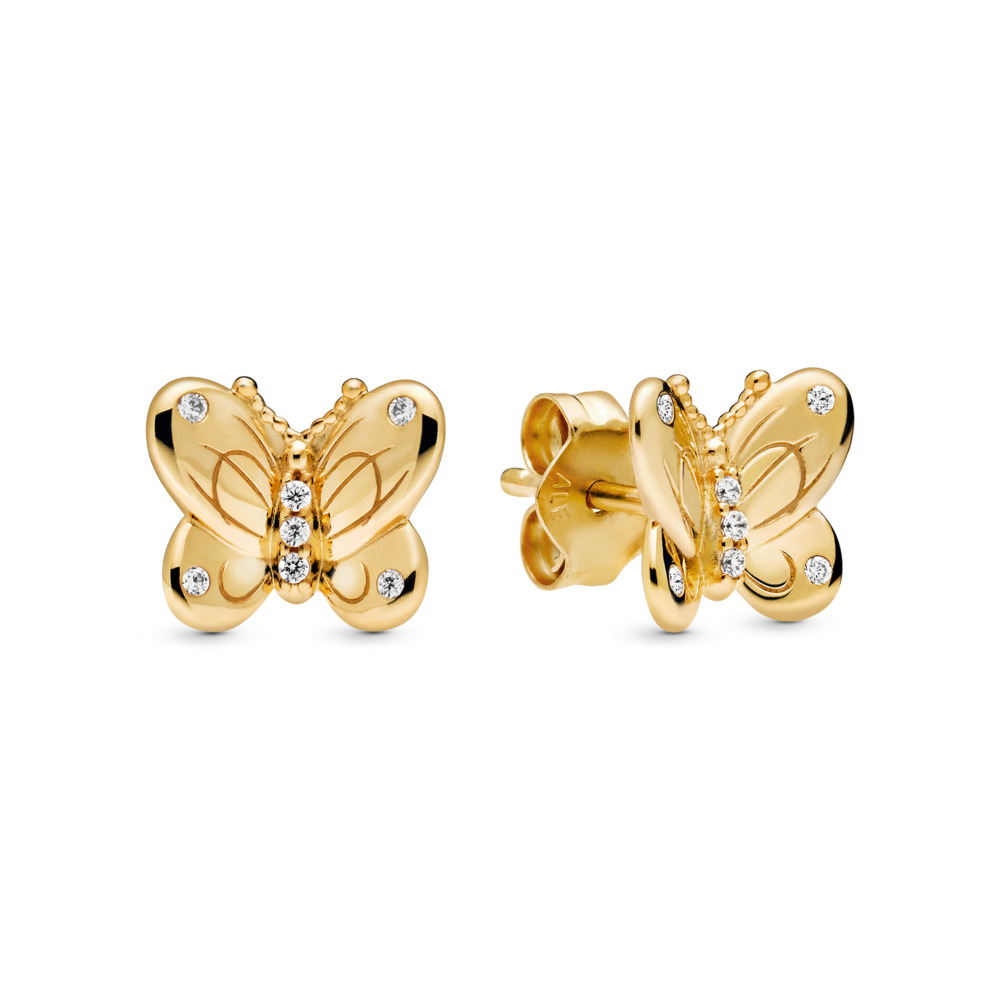 Decorative Butterflies Earrings, Pandora Shine™, 18ct Gold Plated, Cubic Zirconia - PANDORA - #267921CZ