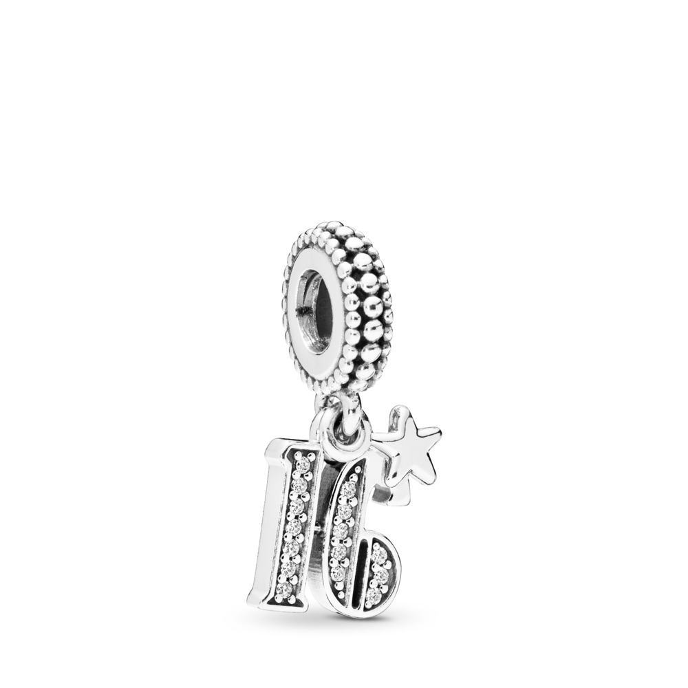 16 Years of Love Dangle Charm, Clear CZ, Sterling silver, Cubic Zirconia - PANDORA - #797261CZ
