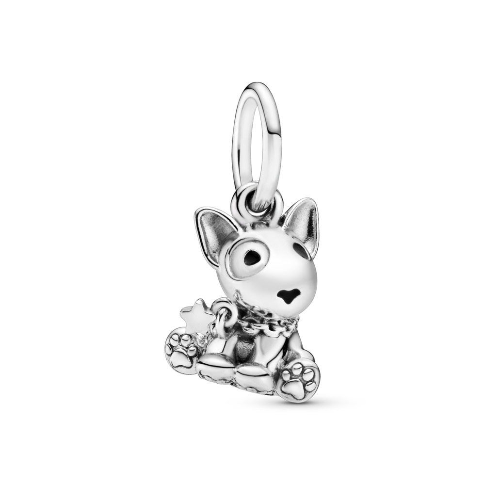 Bull Terrier Puppy Dangle Charm, Sterling silver, Enamel, Black - PANDORA - #798010EN16