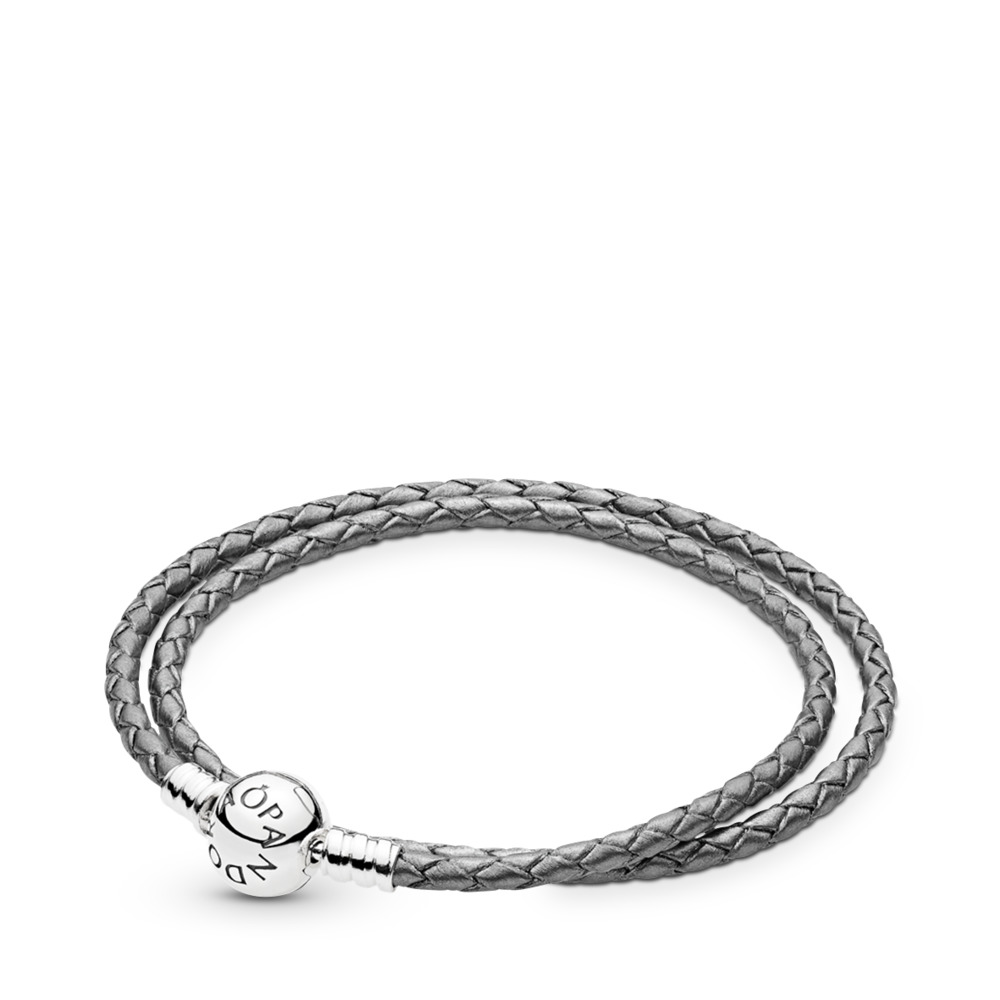 Silver Grey Braided Double-Leather Charm Bracelet, Sterling silver, Leather, Grey - PANDORA - #590745CSG-D