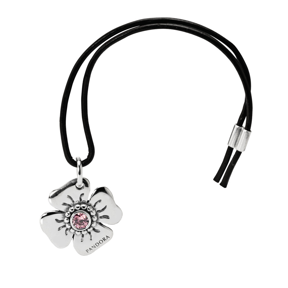 Daisy Clasp Opener, Pink CZ & Black Leather, Sterling silver, Leather, Pink, Cubic Zirconia - PANDORA - #890000PCZ