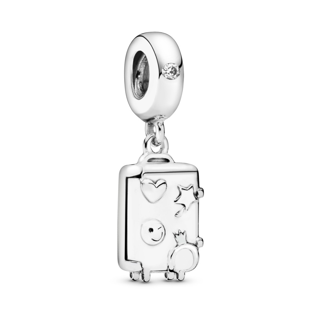 Suitcase Dangle Charm, Sterling silver, Enamel, Pink, Cubic Zirconia - PANDORA - #797887EN160