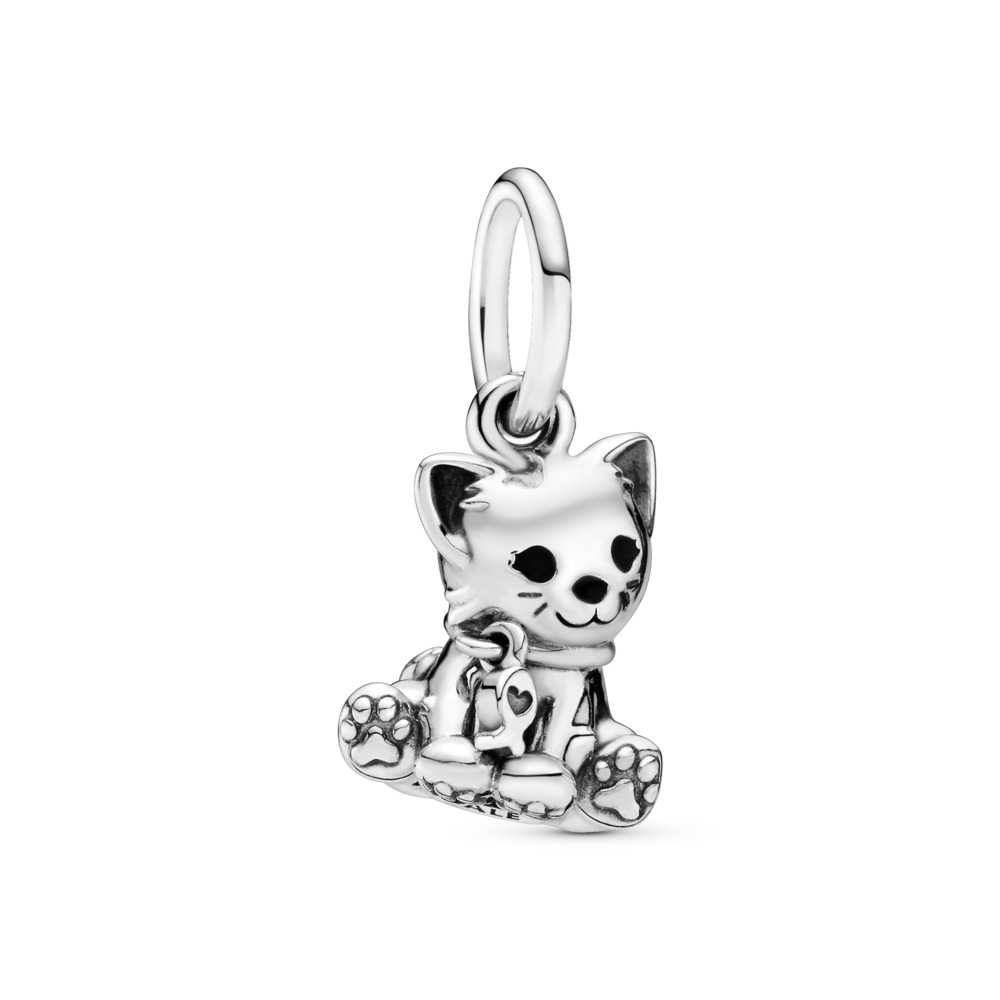Sweet Cat Dangle Charm, Sterling silver, Enamel, Black - PANDORA - #798011EN16