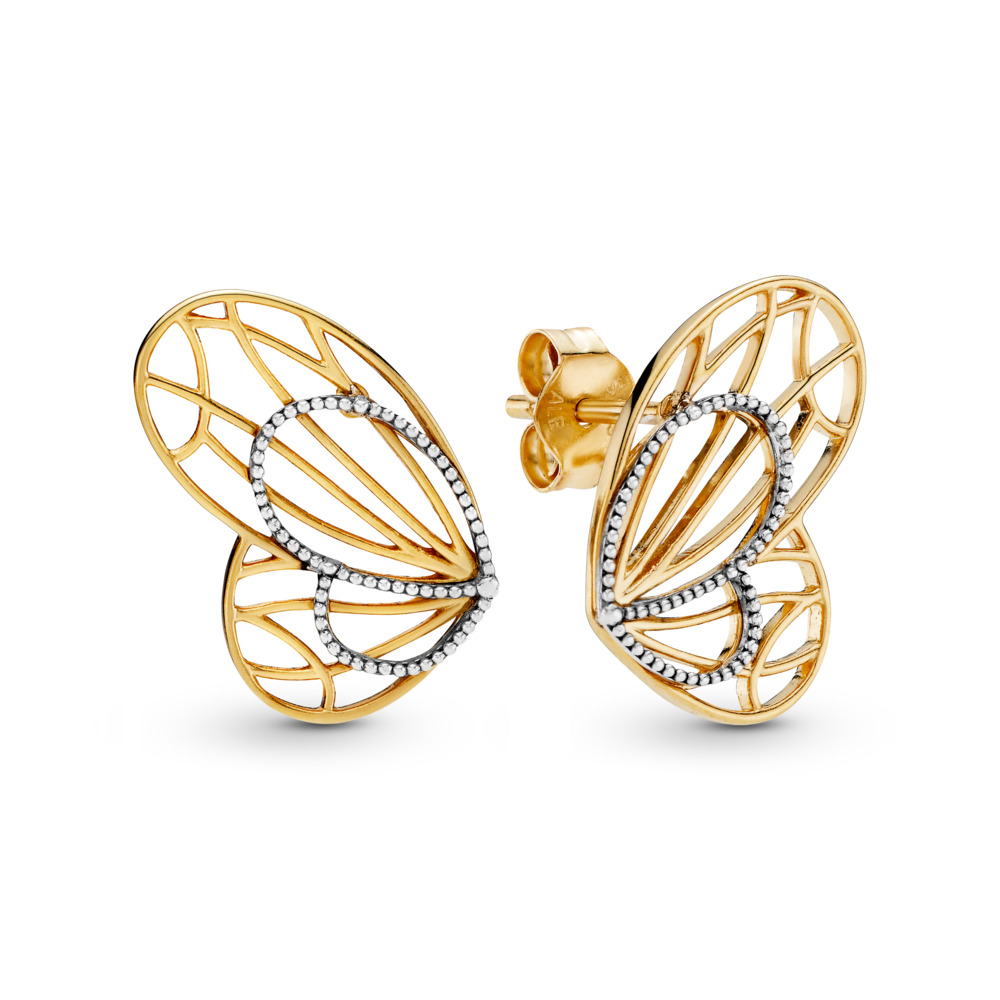 Openwork Butterflies Earrings, Pandora Shine™, PANDORA Shine and sterling silver - PANDORA - #267955