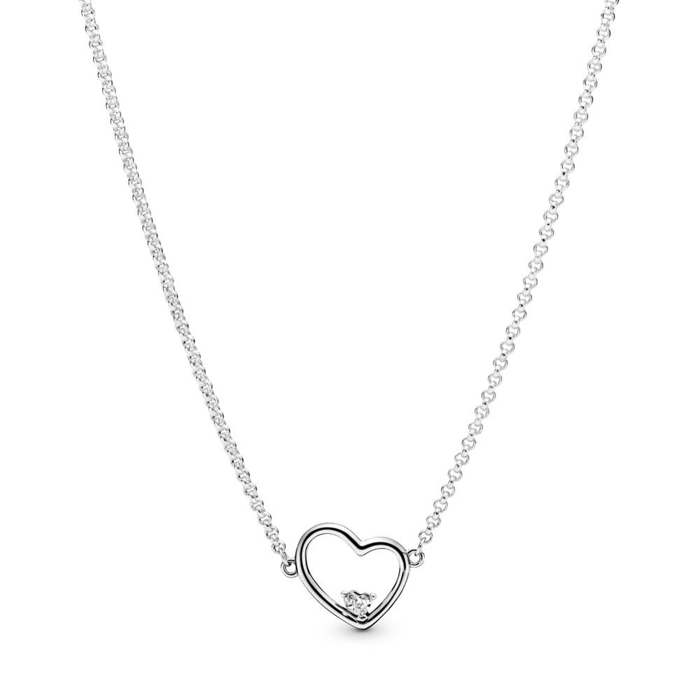 Asymmetric Heart of Love Necklace, Clear CZ, Sterling silver, Silicone, Cubic Zirconia - PANDORA - #397797CZ