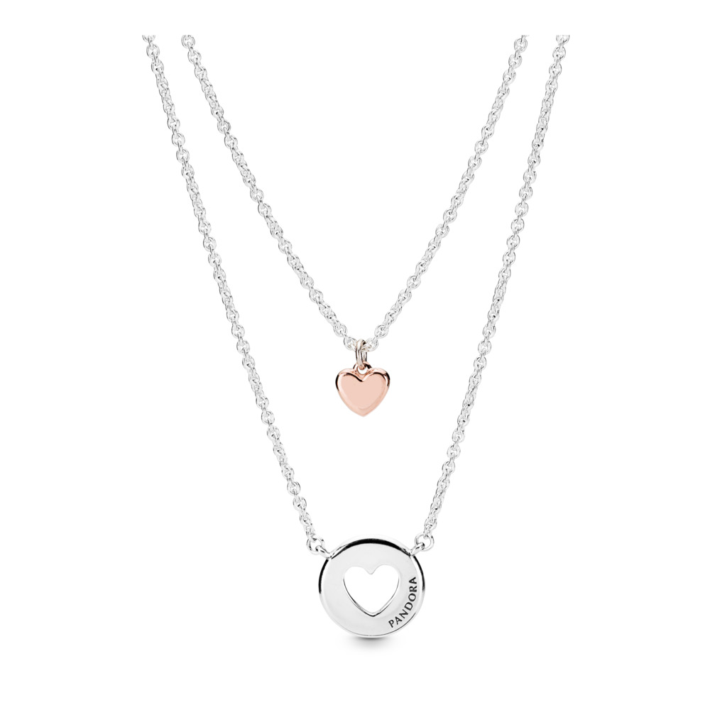 Layered Heart Necklace, PANDORA Rose with sterling silver - PANDORA - #388083