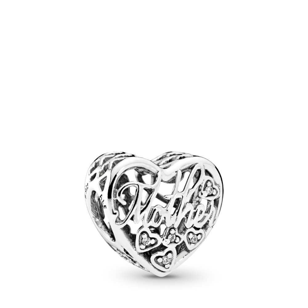 판도라 PANDORA Mother & Son Bond Charm, Clear CZ Sterling silver, Cubic Zirconia