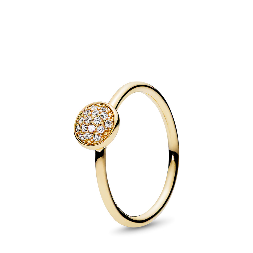 Dazzling Droplet Ring, Clear CZ, Yellow Gold 14 k, Cubic Zirconia - PANDORA - #150187CZ