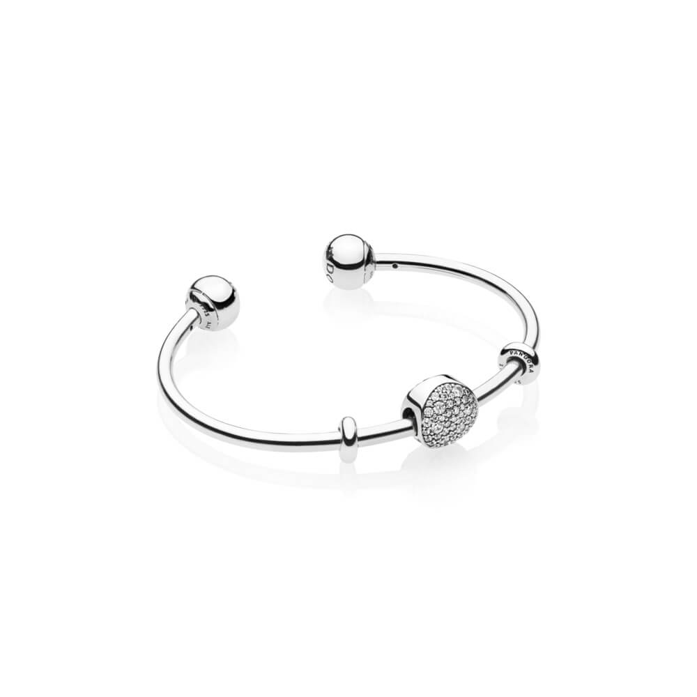 Wintry Holiday Open Bangle Gift Set, Sterling Silver, Cubic Zirconia - PANDORA - #B801001
