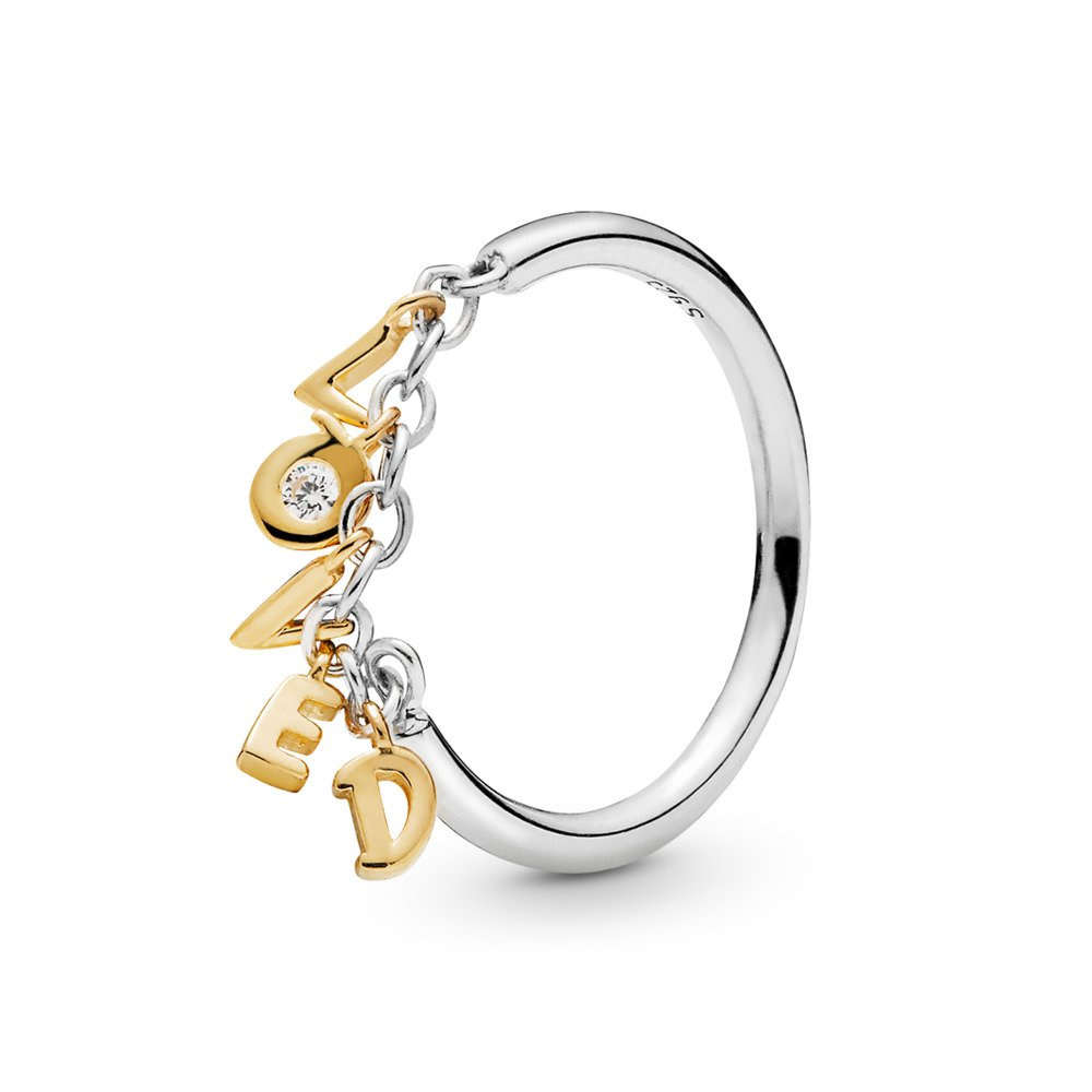 Loved Script Ring, PANDORA Shine™, Clear CZ, PANDORA Shine and sterling silver, Cubic Zirconia - PANDORA - #167799CZ