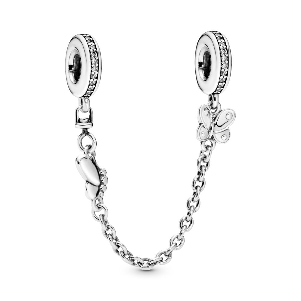 Decorative Butterflies Safety Chain, Sterling silver, Cubic Zirconia - PANDORA - #797865CZ