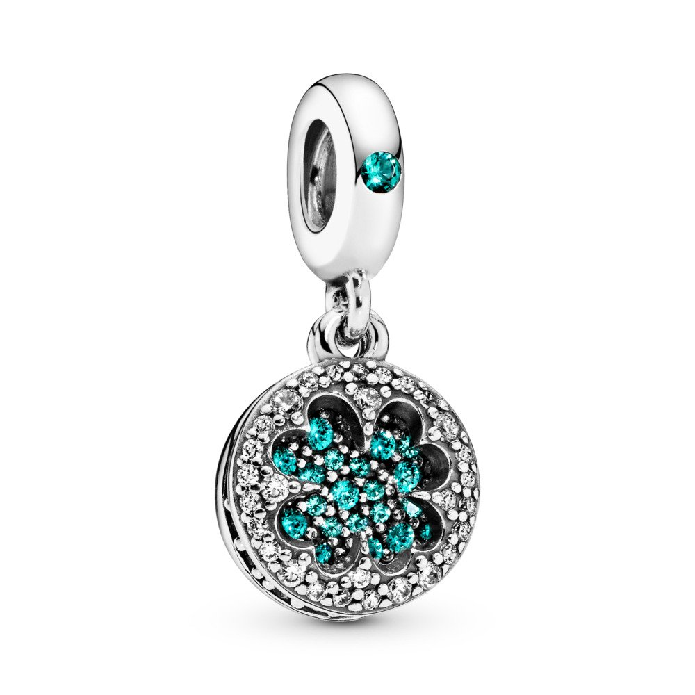 Dazzling Clover Dangle Charm, Sterling silver, Green, Mixed stones - PANDORA - #797906NRGMX