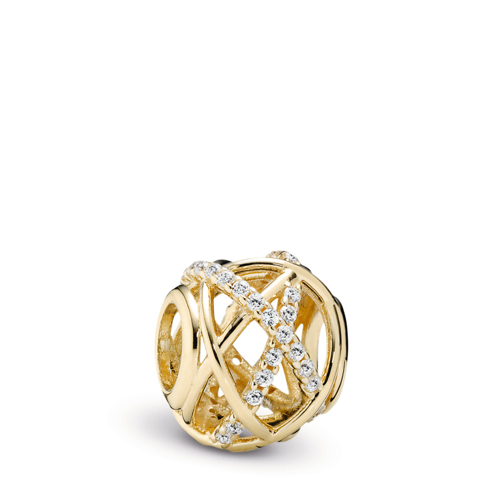 Galaxy Charm, Clear CZ & 14K Gold, Yellow Gold 14 k, Cubic Zirconia - PANDORA - #750827CZ