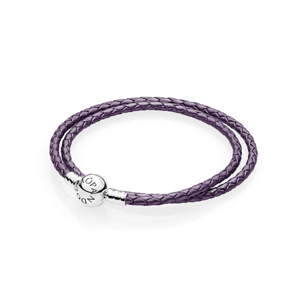 Purple Braided Double-Leather Charm Bracelet, Sterling silver, Leather, Purple - PANDORA - #590745CPE-D