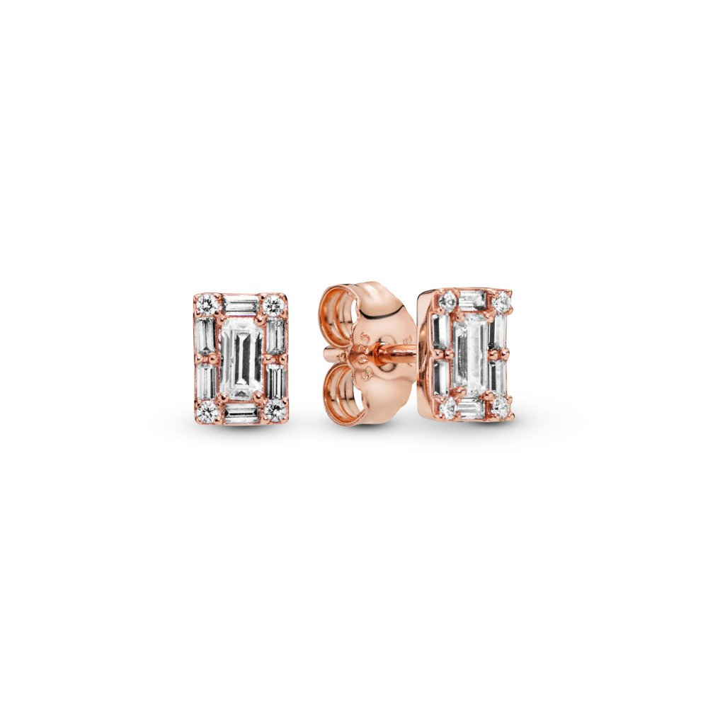 Luminous Ice Stud Earrings, PANDORA Rose™ & Clear CZ, PANDORA Rose, Cubic Zirconia - PANDORA - #287567CZ