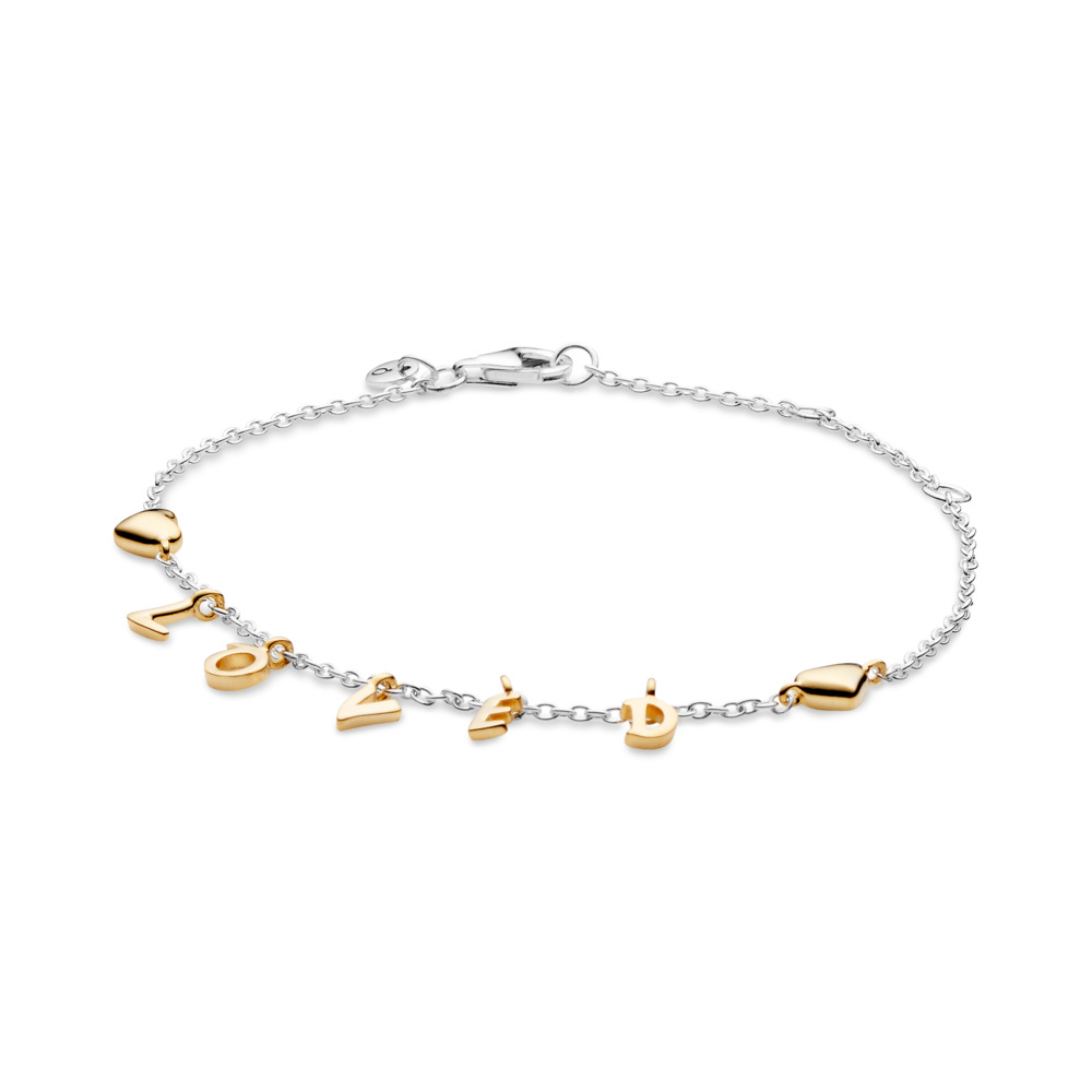 Loved Script Bracelet, PANDORA Shine™, PANDORA Shine and sterling silver - PANDORA - #567804