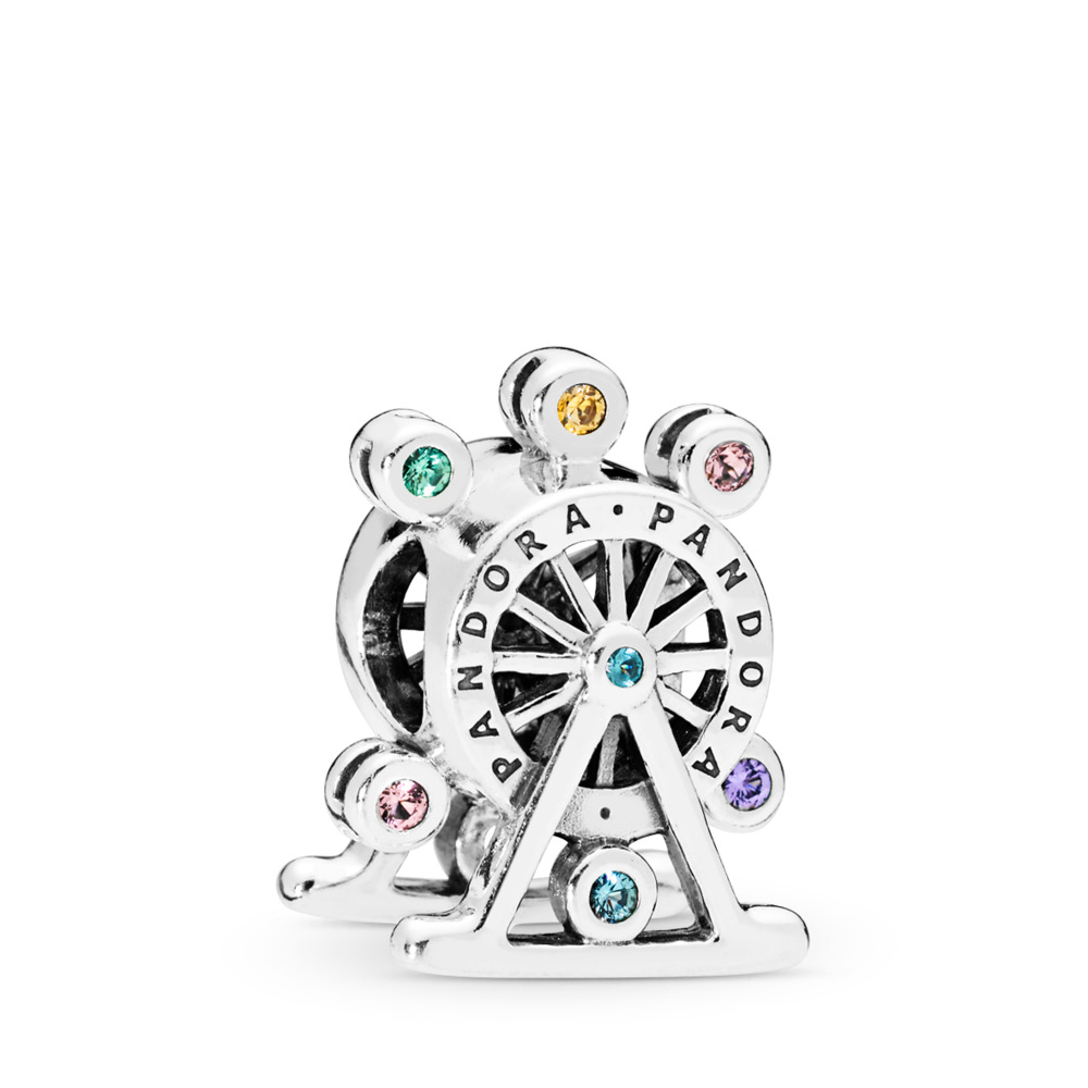 Ferris Wheel Charm, Multi-Colored Crystal, Sterling silver, Blue, Mixed stones - PANDORA - #797199NLCMX
