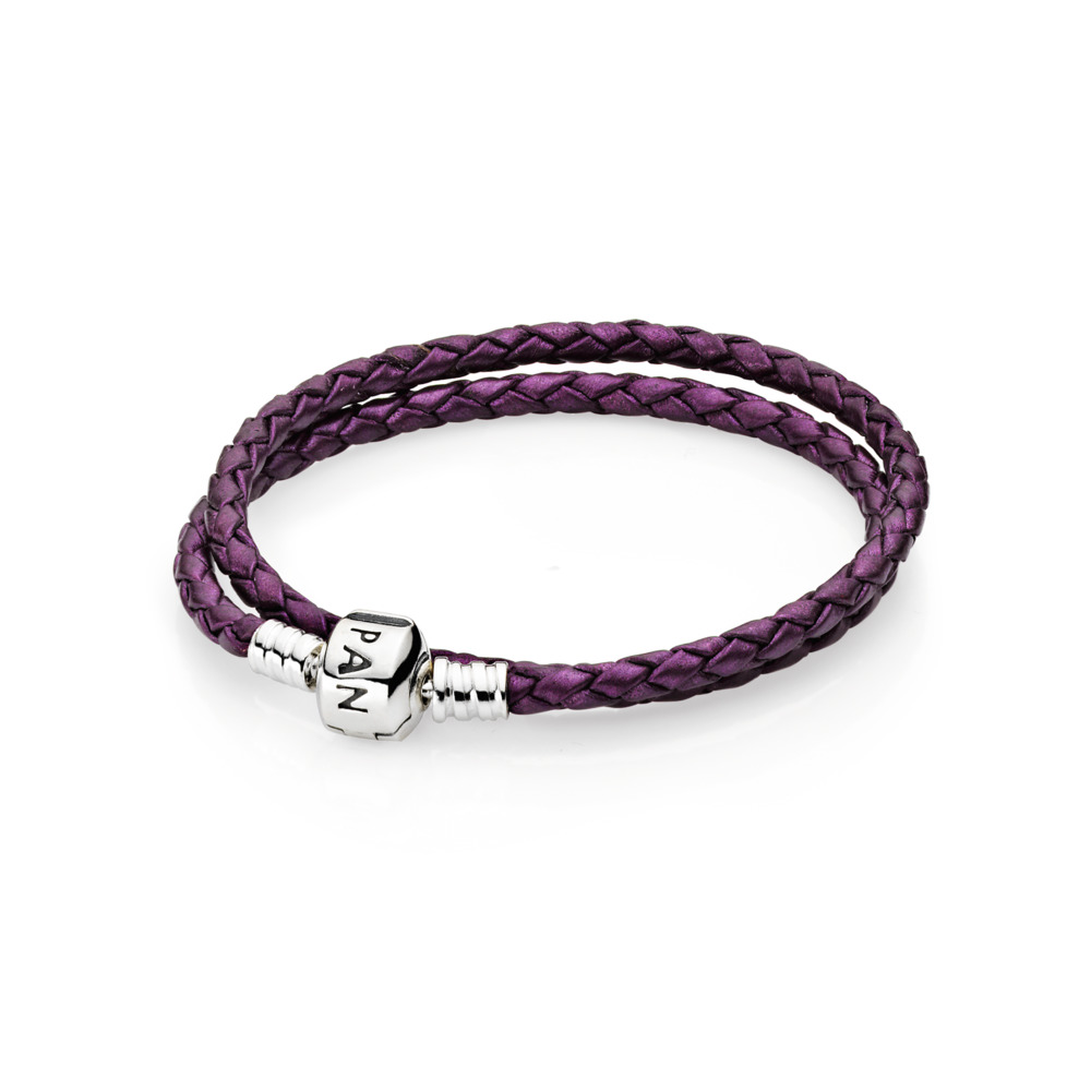 Purple Braided Double-Leather Charm Bracelet, Sterling silver, Leather, Purple - PANDORA - #590705CPE-D