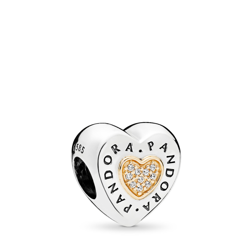 판도라 PANDORA Signature Heart Charm, Clear CZ Two Tone, Cubic Zirconia