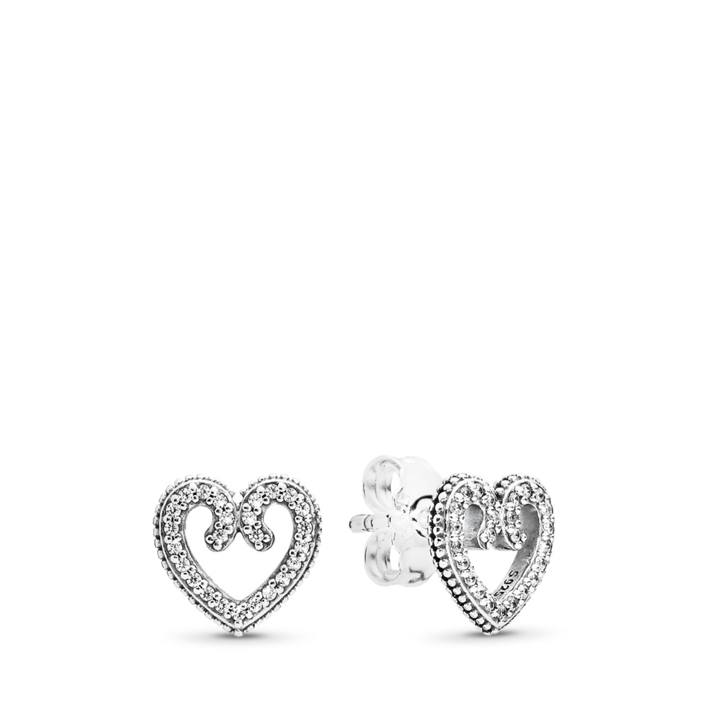 Heart Swirls Stud Earrings, Clear CZ, Sterling silver, Cubic Zirconia - PANDORA - #297099CZ