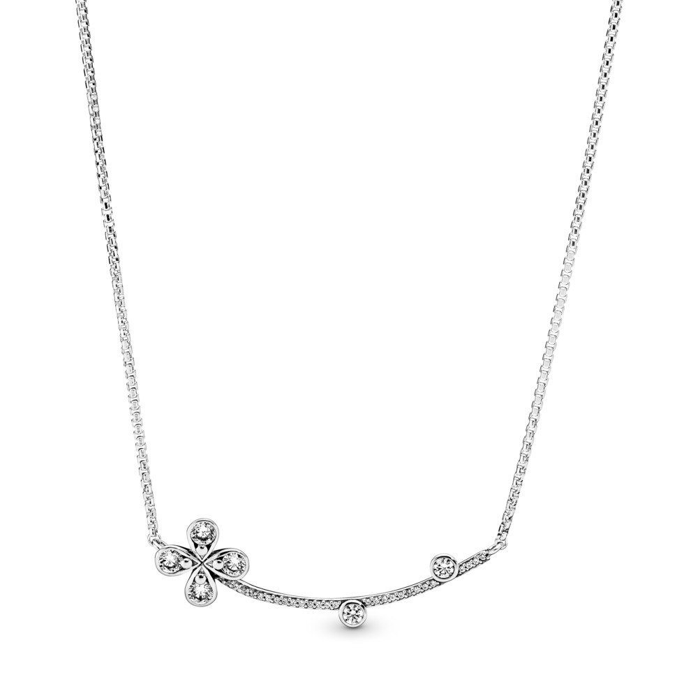 Four-Petal Flower Necklace, Sterling silver, Cubic Zirconia - PANDORA - #397956CZ
