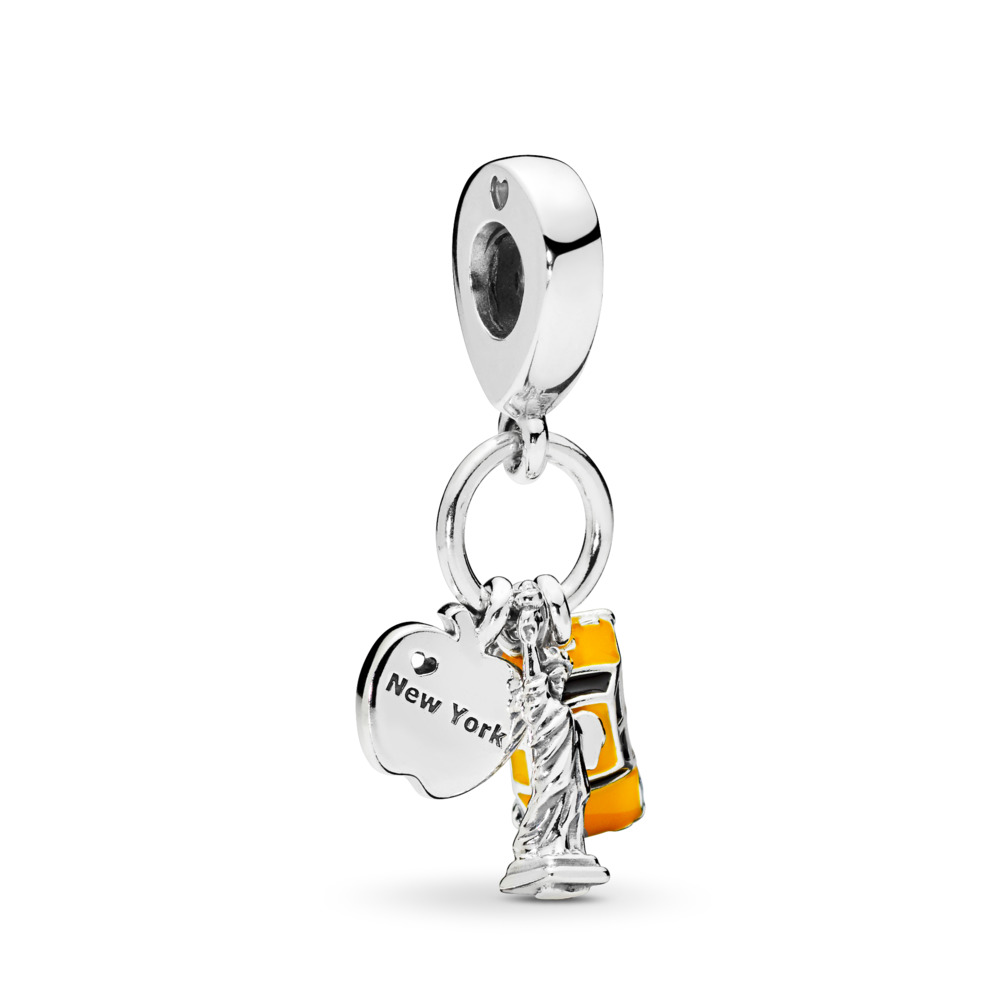 판도라 PANDORA New York Highlights Dangle Charm, Black & Yellow Enamel Sterling silver, Enamel, Black