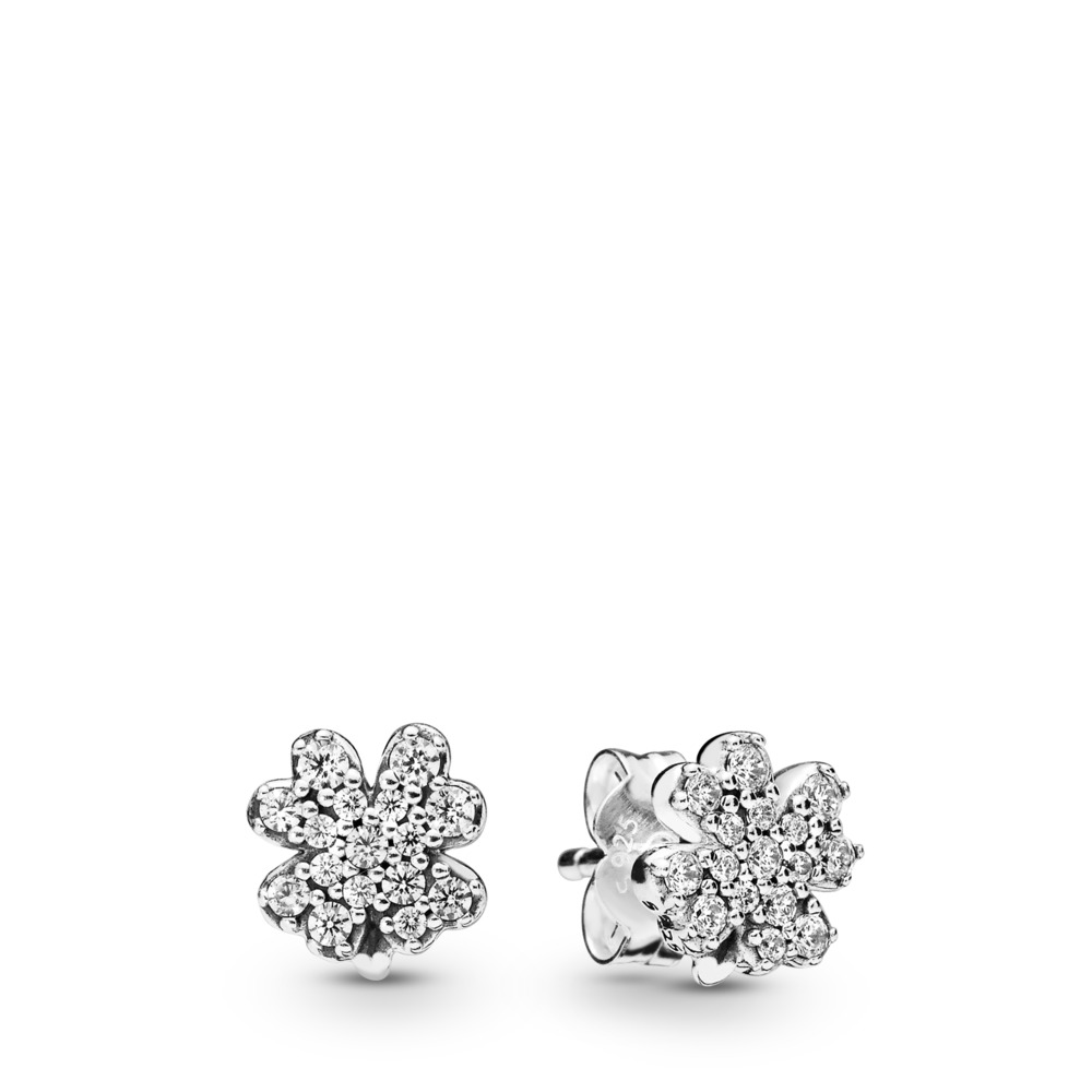 Radiant Clover Earrings, Sterling silver, Cubic Zirconia - PANDORA - #297944CZ