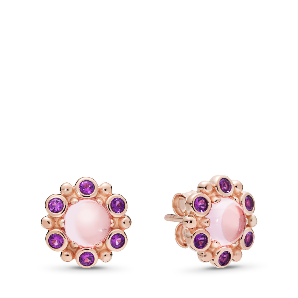 Heraldic Radiance Earrings, PANDORA Rose™ Pink & Purple Crystals, PANDORA Rose, Pink, Crystal - PANDORA - #287728NPM
