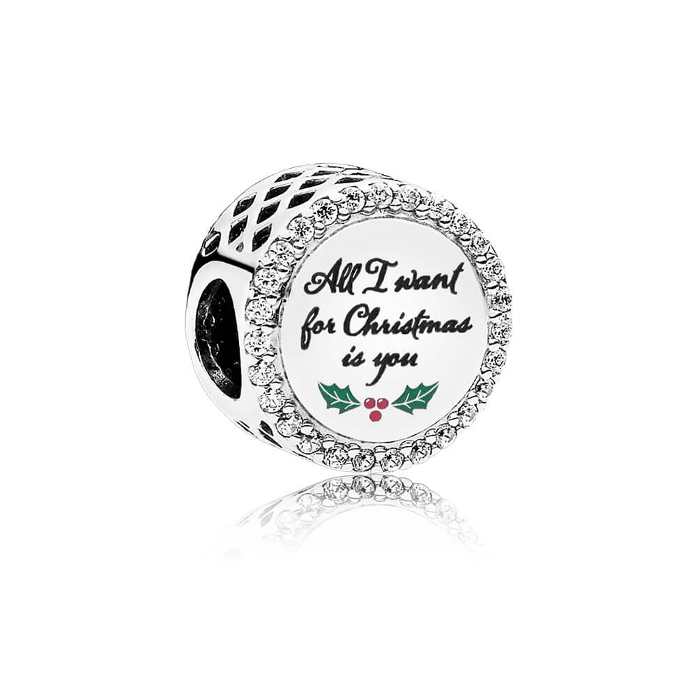 All I Want for Christmas Charm, Clear CZ, Sterling Silver, Green, Cubic Zirconia - PANDORA - #ENG792016CZ_21