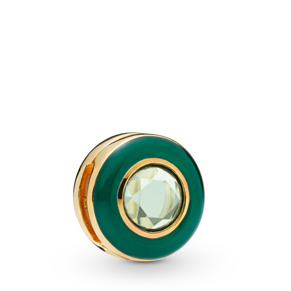Pandora Reflexions™ Radiant Green Circle Clip Charm, 18ct Gold Plated, Enamel, Green, Crystal - PANDORA - #767891NMG