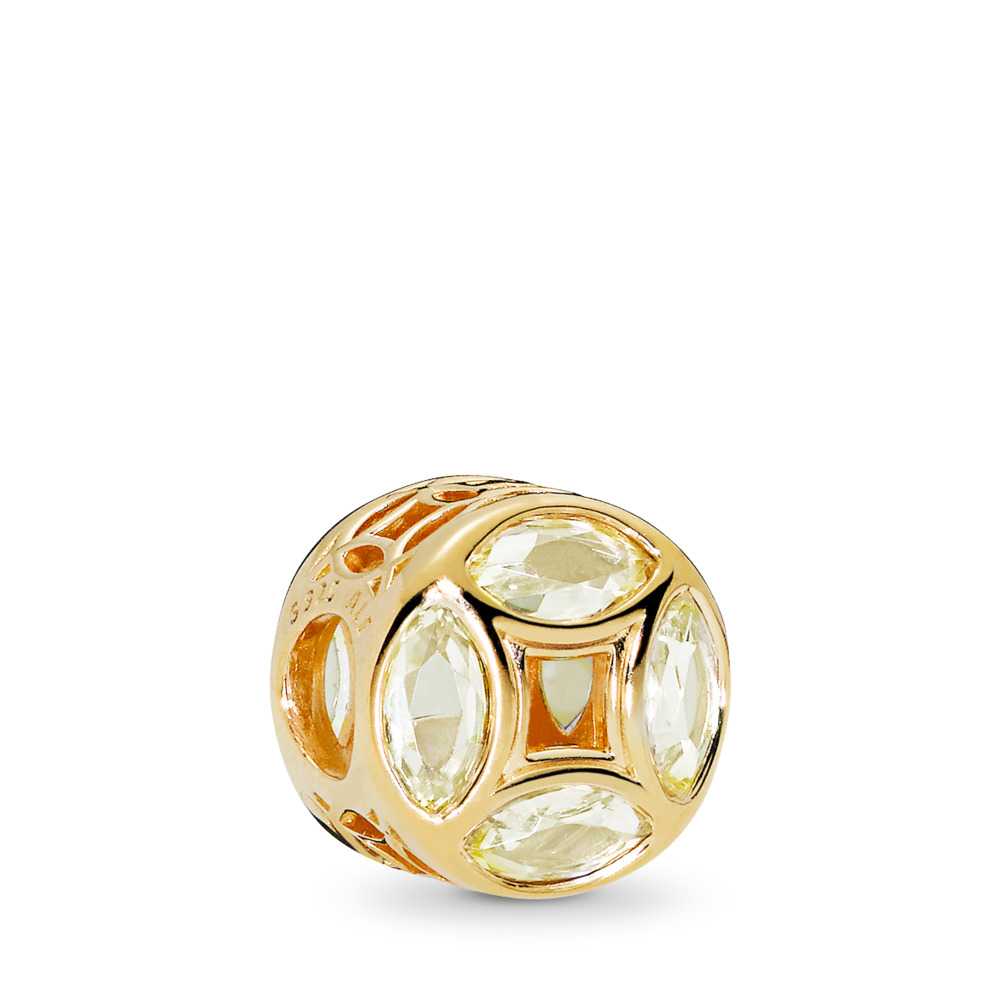 Good Fortune Coin Charm, PANDORA Shine™ Sunshine Yellow CZ, 18ct Gold Plated, Cubic Zirconia - PANDORA - #767821CSY