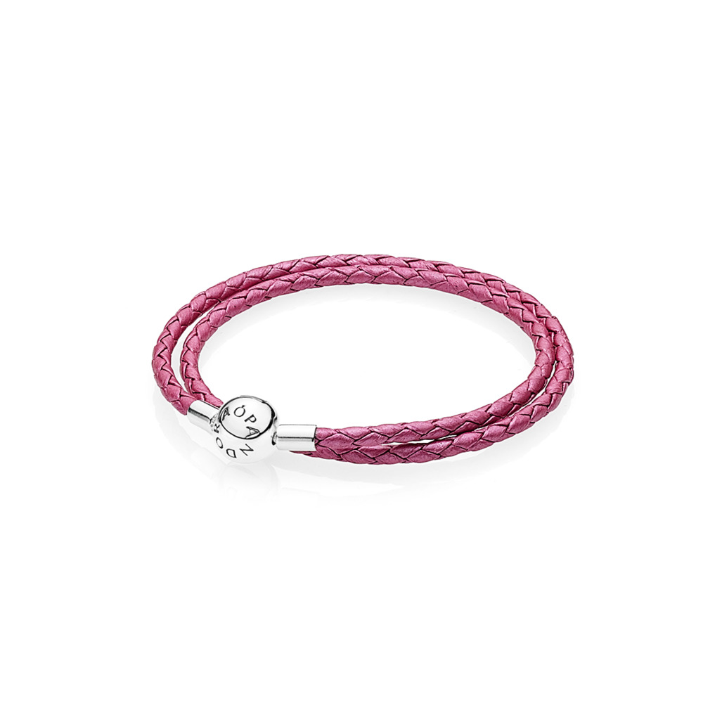 Honeysuckle Pink Leather Charm Bracelet, Sterling silver, Leather, Pink - PANDORA - #590734CHP-D