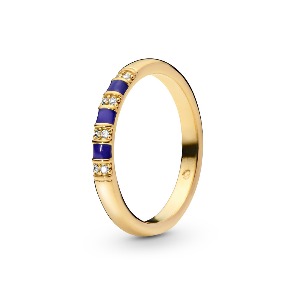 Exotic Stones & Stripes Ring, Pandora Shine™, 18ct Gold Plated, Enamel, Blue, Cubic Zirconia - PANDORA - #168052CZ