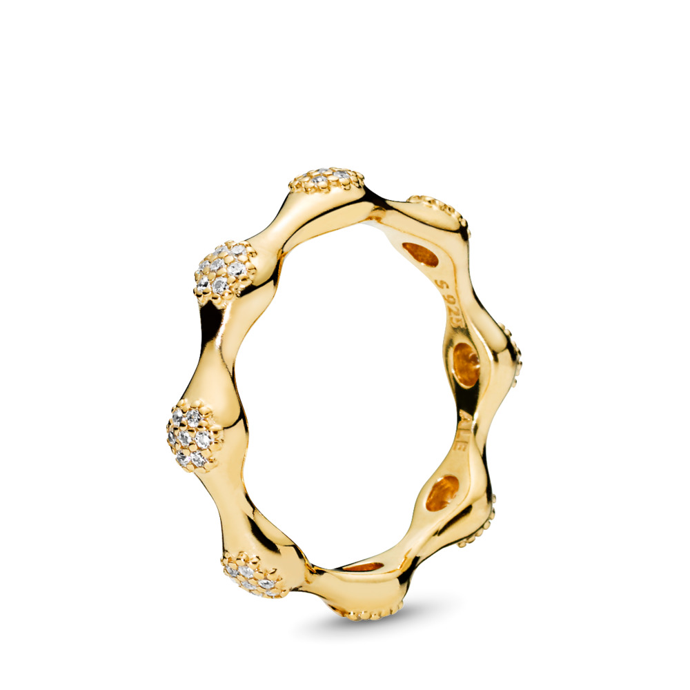 Modern LovePods Ring, 판도라 PANDORA Shine & Clear CZ 18ct Gold Plated, Cubic Zirconia