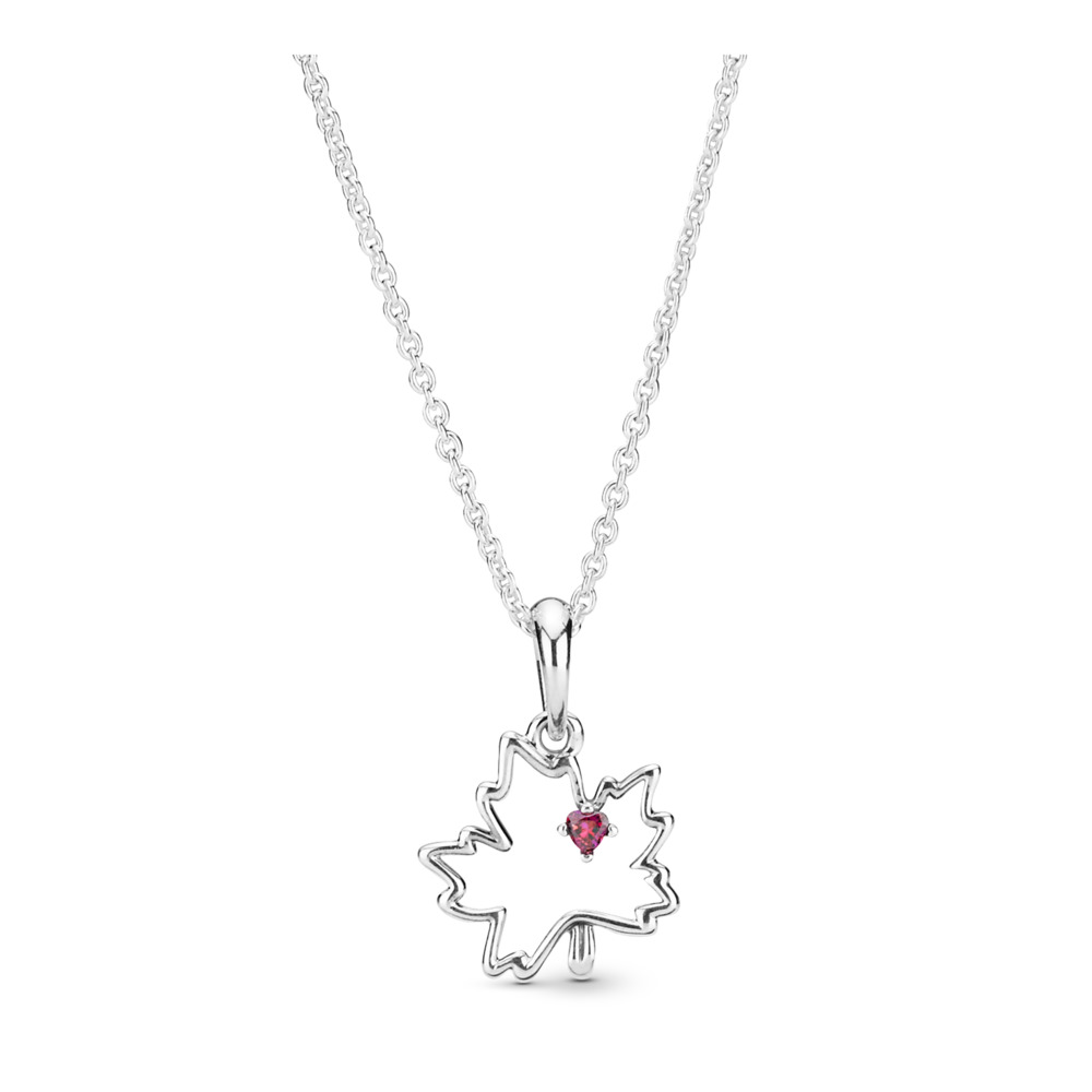 Symbol of Canada Necklace, Sterling silver, Red, Cubic Zirconia - PANDORA - #398026CZR-45