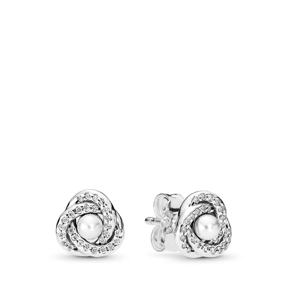 판도라 PANDORA Luminous Love Knots Stud Earrings, White Crystal Pearl & Clear CZ Sterling silver, White, Mixed stones