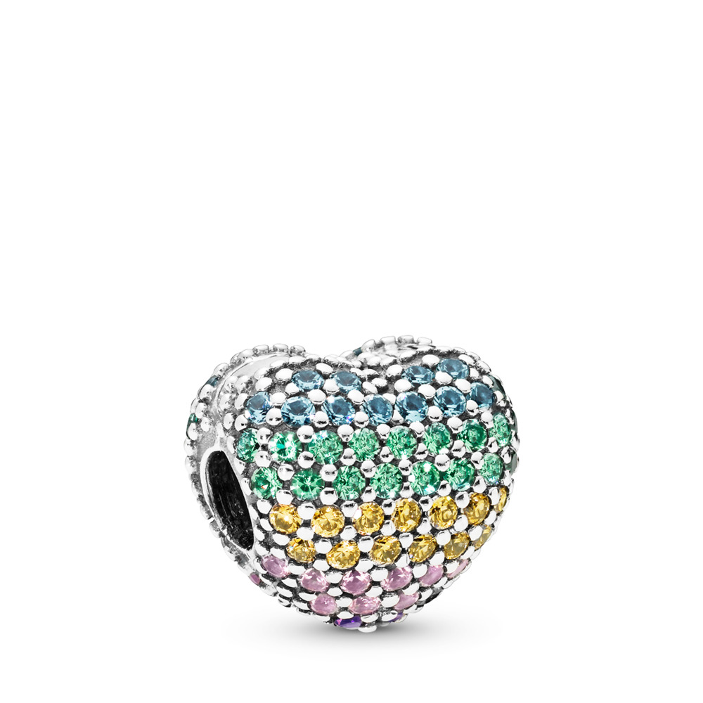 Open My Heart Pavé Clip, Multi-Color CZ, Sterling silver, Blue, Mixed stones - PANDORA - #797221NRPMX