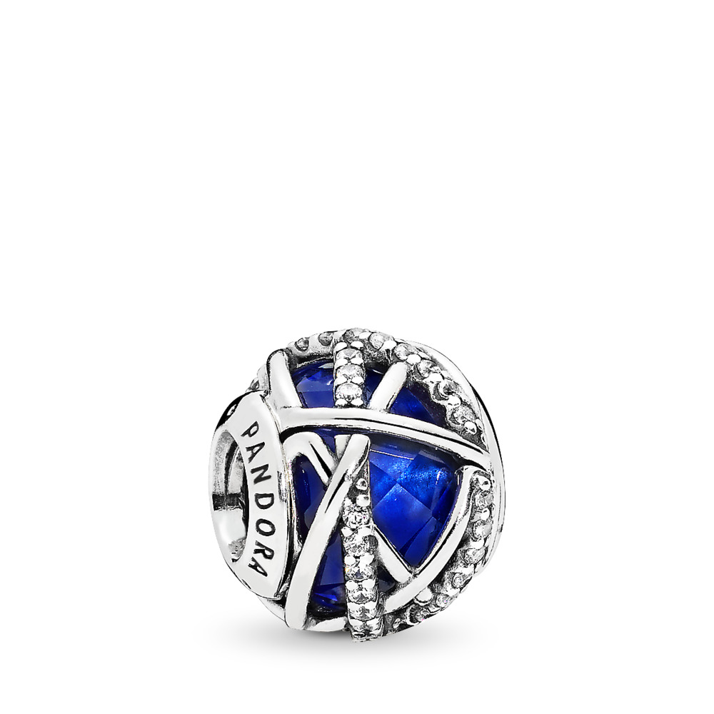 Galaxy Charm, Royal Blue Crystal & Clear CZ, Sterling silver, Blue, Mixed stones - PANDORA - #796361NCB